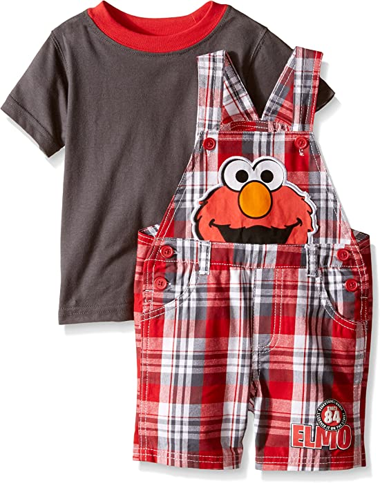 e111689508 Sesame Street Baby Boys' 2 Piece Plaid Elmo Shortall Set, Red, 12 Months