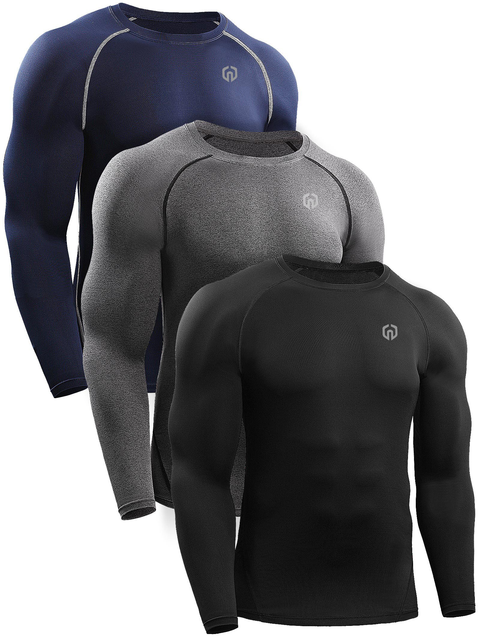 Neleus Men's 3 Pack Workout Compression Long Sleeve Shirt,5035,Black,Grey,Navy Blue,US S,EU M