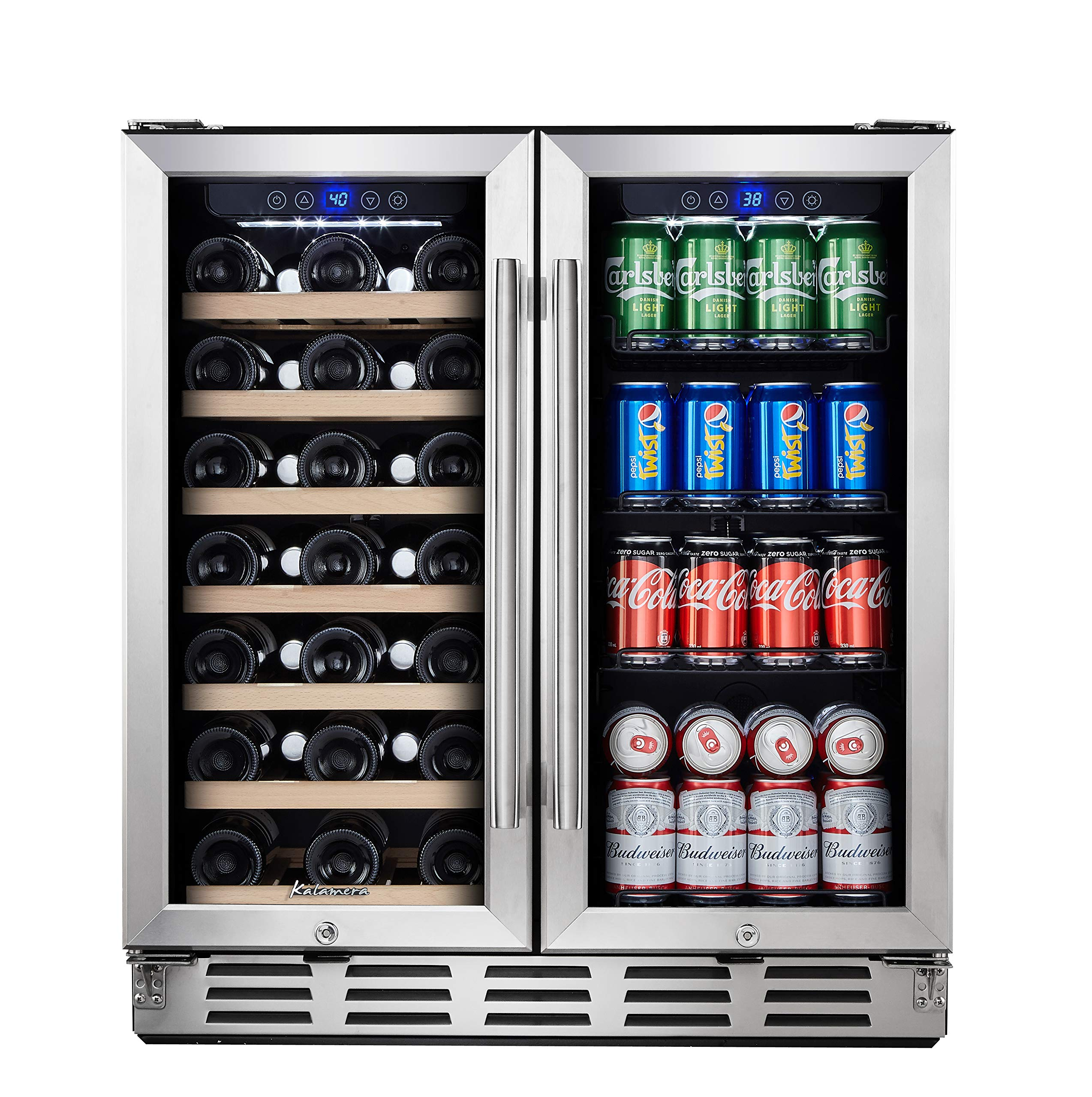 "Kalamera Beverage Refrigerator - 30"" Beverage Cooler with Glass Front Door - Beer, Wine, Soda And Drink Mini Fridge - Small Stainless Bar Drinks Fridge with Built In Dual Zone & Adjustable Shelves"
