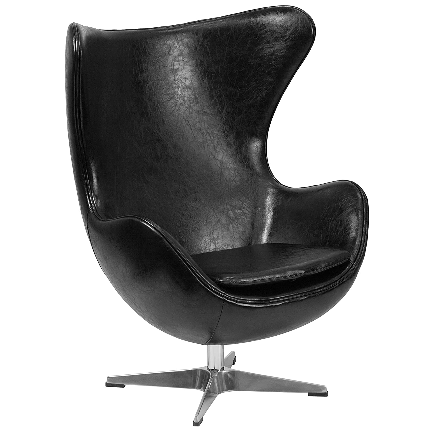 Design Egg Chair amazon com black leather egg chair vela retro lounge chairs kitchen dining