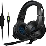 Gaming Headset for PS4/XBox One,Amicool Stereo Bass Surround/Noise Reduction/Volume Control/Over-Ear Gaming Headphone with Mic for Laptop PC Mac Computer and Smartphone