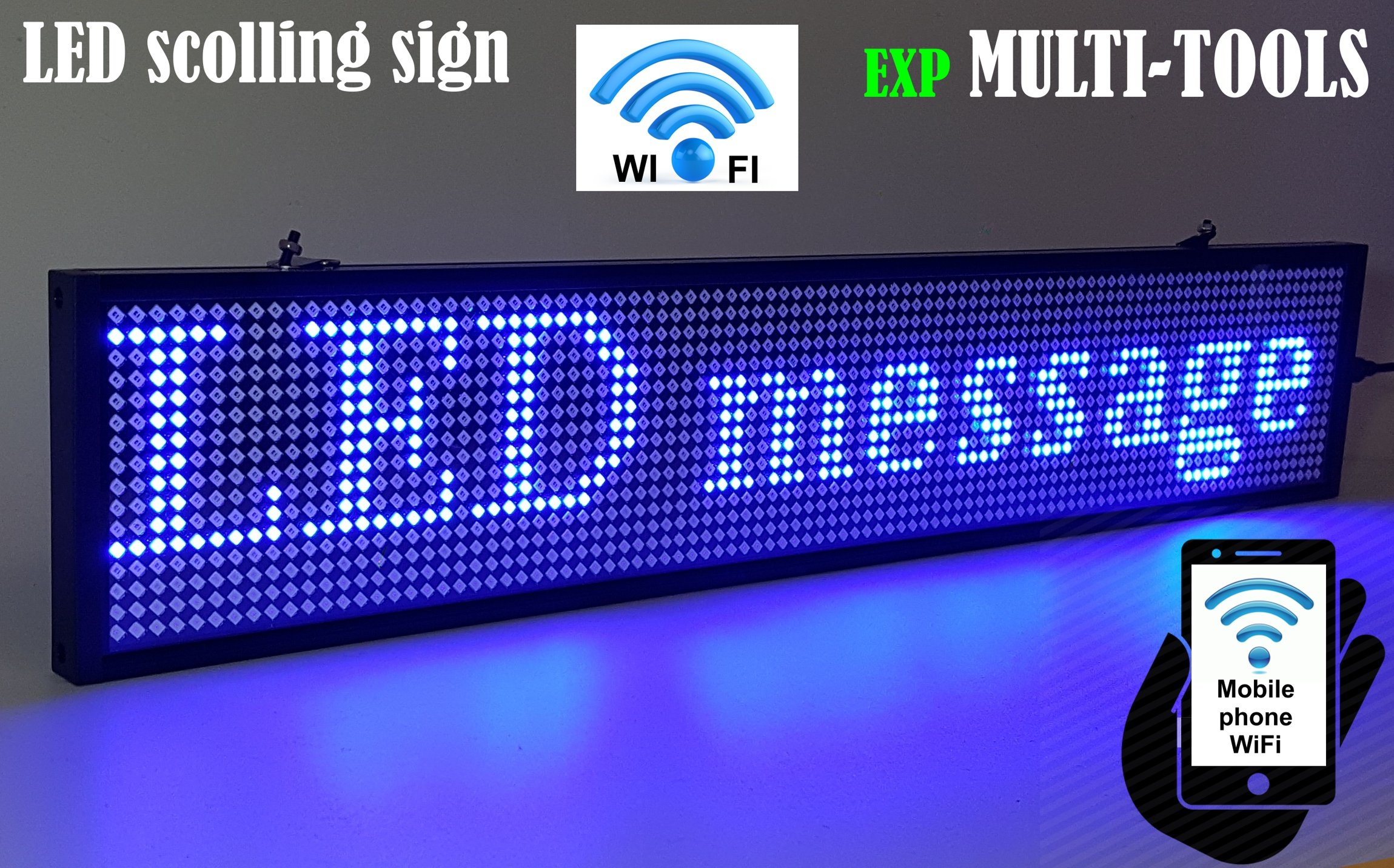 LED Display Blue Color with WiFi Connection, LED Scrolling Message Sign, Bright and in New Light auminum housing