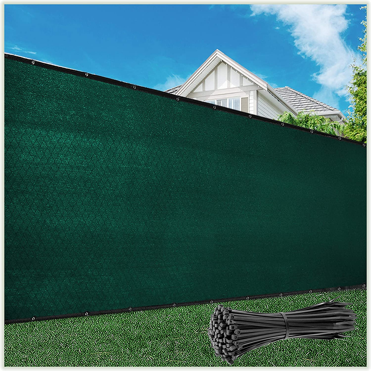 ColourTree 4' x 50' Green Fence Privacy Screen Windscreen Cover Fabric Shade Tarp Netting Mesh Cloth - Commercial Grade 170 GSM - Cable Zip Ties Included - We Make Custom Size