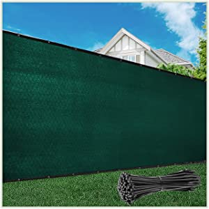 ColourTree Customized Size Fence Screen Privacy Screen Green 8' x 25' - Commercial Grade 170 GSM - Heavy Duty - 3 Years Warranty - We Make Custom Size