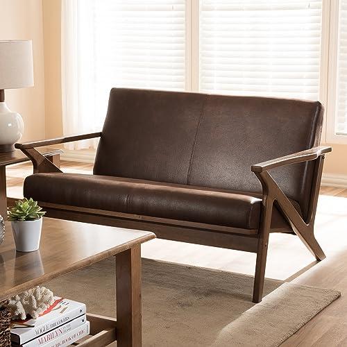 Baxton Studio Bianca Mid-Century Modern Walnut Wood Dark Brown Distressed Faux Leather 2-Seater Loveseat Mid-Century/Dark Brown/Walnut Brown/Faux Leather/Rubber Wood/