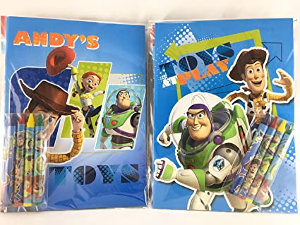 Amazon.com: Party Favors Toy Story Coloring Book & Crayon Set 12 ...