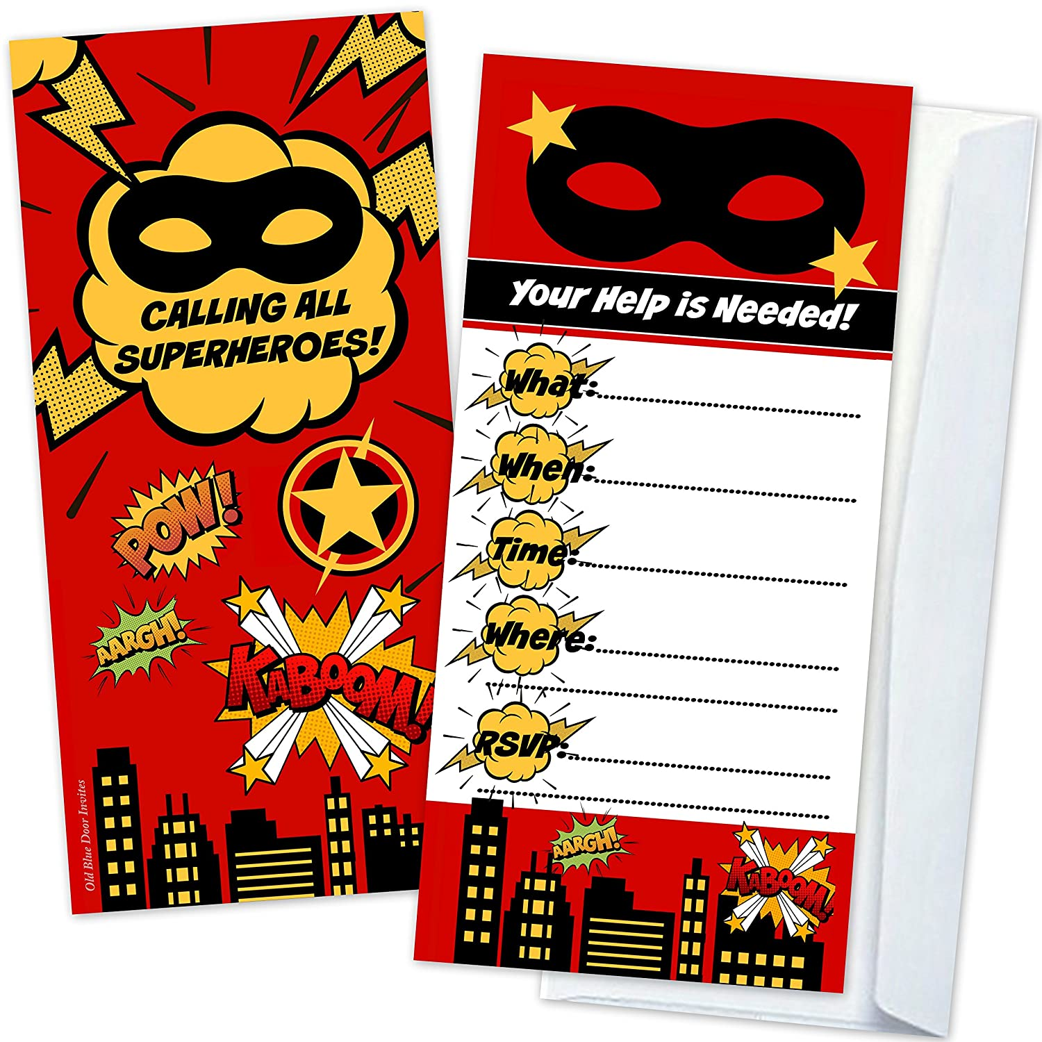 Amazon.com: Superhero Kids Birthday Party Invitations (12 Count with ...