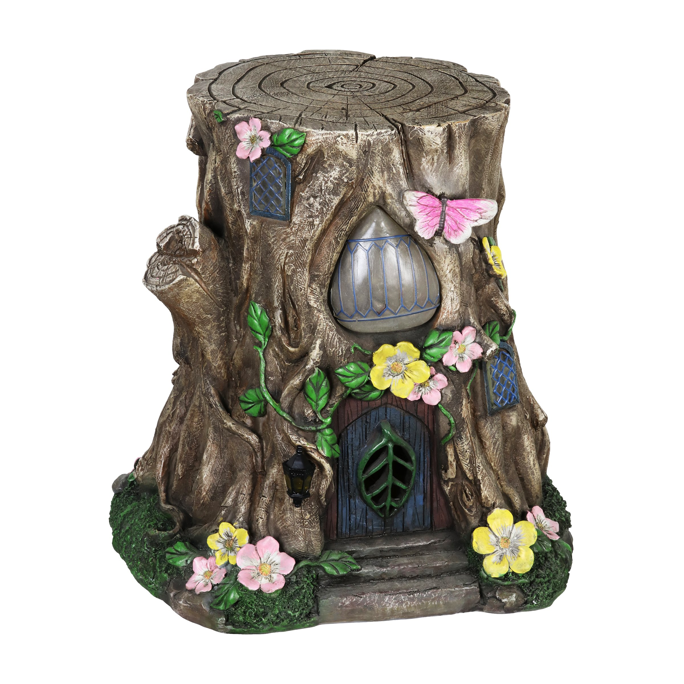 Exhart Gardening Gifts –Fairy House Tree Stump Statue - Large Garden Statues w/Solar Garden Lights, Outdoor Use, Fairy Themed Garden Décor, Weather Resistant Resin Statues by Exhart (Image #5)