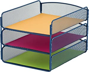 Safco Products Onyx Mesh 3 Tray Desktop Organizer 3271BU, Blue Powder Coat Finish, Durable Steel Mesh Construction
