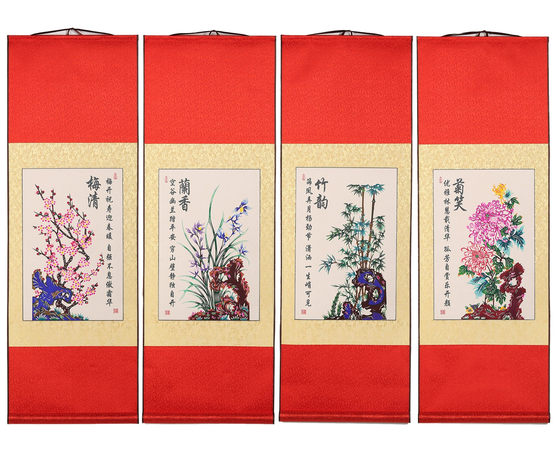 Shayier China 's Intangible Cultural Heritage Chinese Handmade Paper-Cut Chinese Paper-Cut Art Wall Scroll (Plum & Orchid & Bamboo & Chrysanthemum_S)