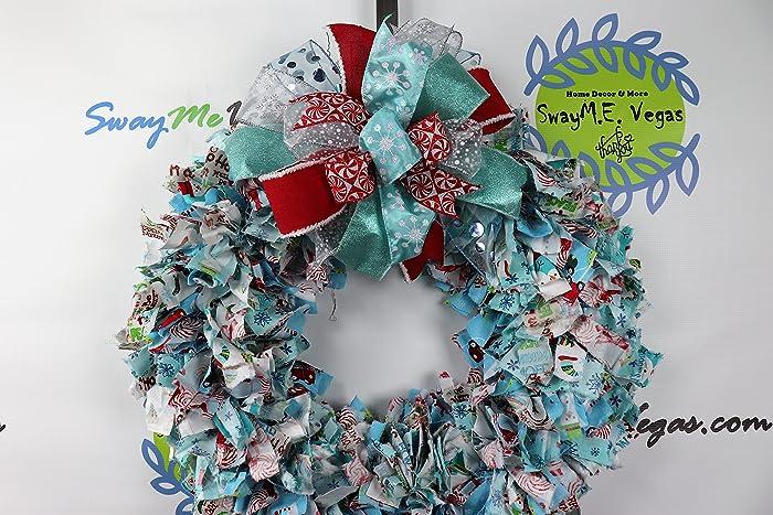 Amazon.com: Christmas Fabric Rag Wreath, Tiffany inspired Blue and ...