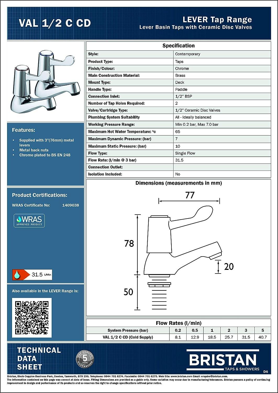 VAL 1//2 C CD Bristan VAL 1//2 C 6 CD Robinets de baignoire /à levier avec disques en c/éramique Chrom/é 15 cm
