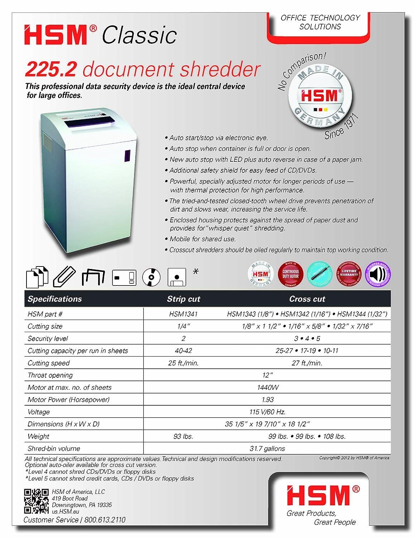amazon com hsm classic 225 2 40 42 sheets strip cut 20 gallon amazon com hsm classic 225 2 40 42 sheets strip cut 20 gallon capacity shredder electronics