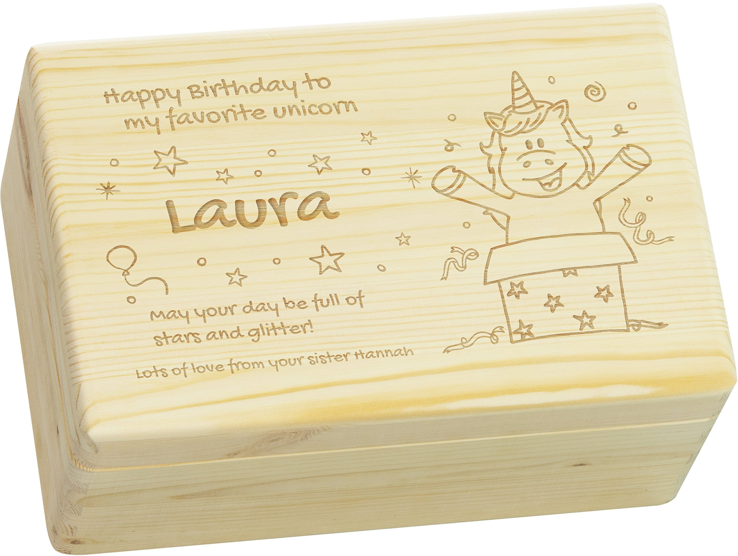 LAUBLUST Engraved Wooden Gift Box - Size L, 12x8x6in - PERSONALIZED Birthday Box - Unicorn Party Design | Natural Wood - Made in Germany