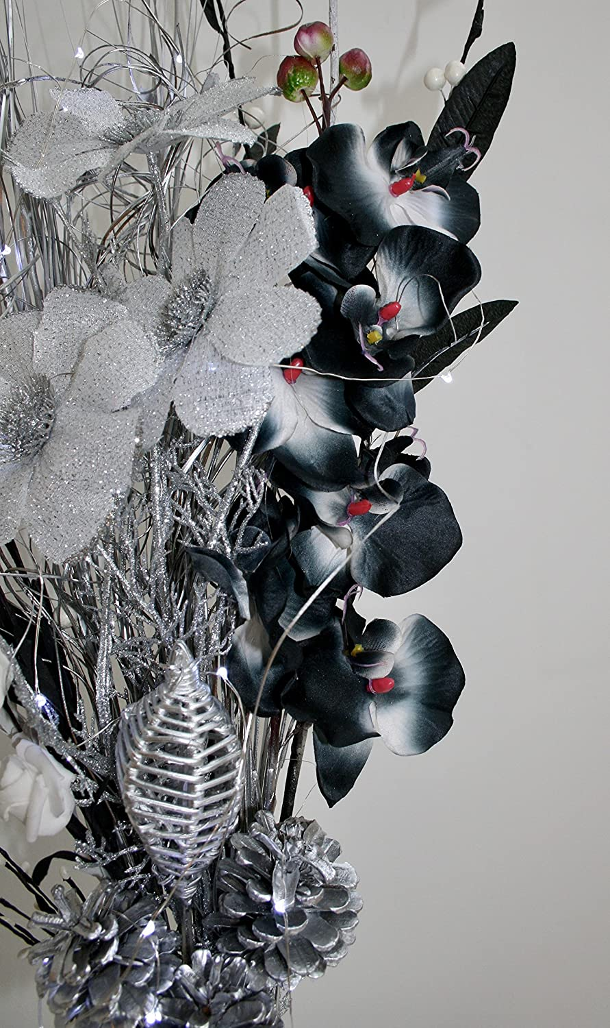 FREE Black Wooden Vase Lights Up Silver /& White Bouquet 20 Lights 85cm Tall. Link Products Hand-Made Black
