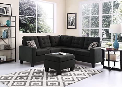 Amazon Com Melbourne Sectional Sofa With Ottoman In Charcoal Ash