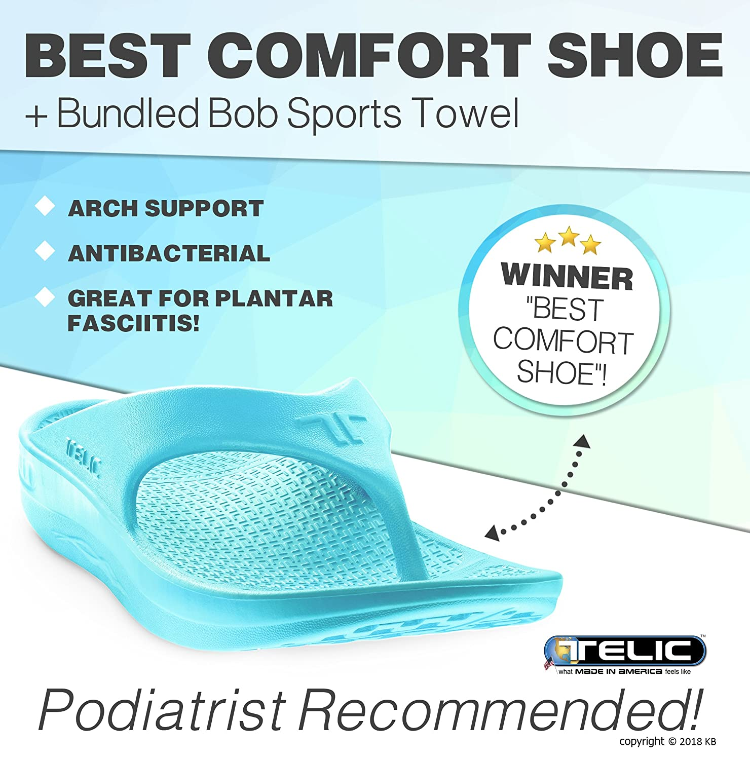 1865c5059854e2 Amazon.com  Telic Unisex Arch Support Recovery Flipflop Sandal +Bundled BOB  Exfoliating Towel  50 Value – Great for Plantar Fasciitis – Podiatrist ...