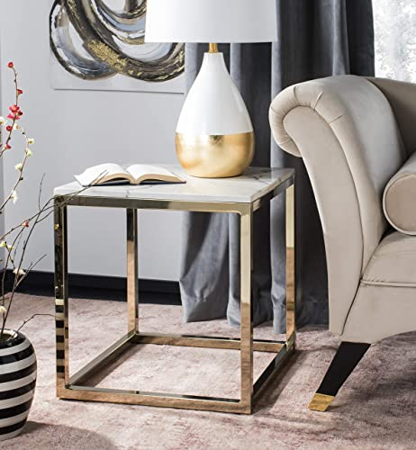 Safavieh Home Bethany Glam White Marble and Brass Square End Table