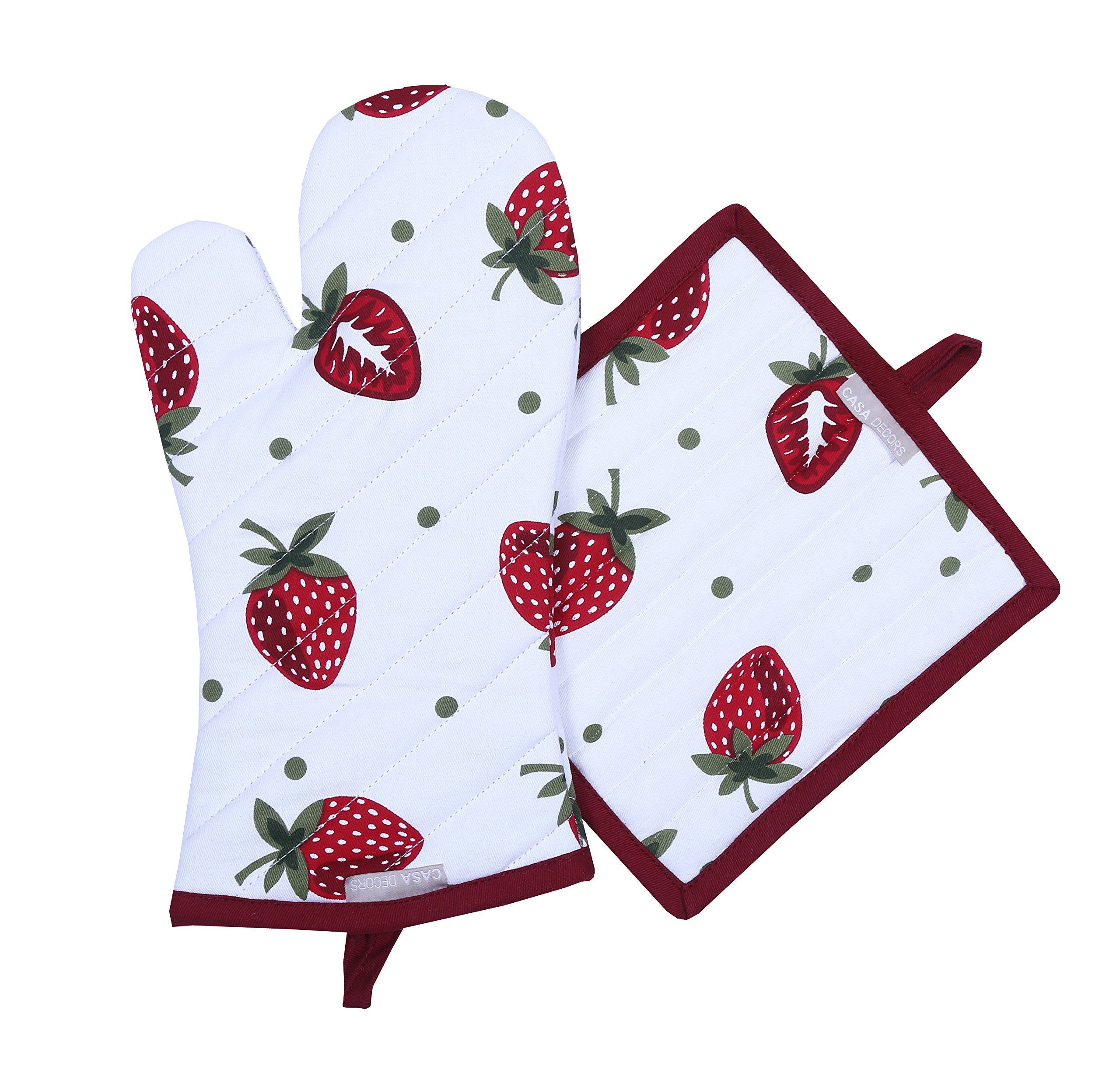Pot Holders and Oven Mitts, Unique Berry Blast Design, Heat Resistant, Made of 100% Cotton, Eco-Friendly & Safe, Set of 1 Oven Mitt and 1 Pot Holder, Pot Holders and Oven Mitts Sets By CASA DECORS