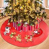Christmas Tree Skirt, Classic Double Layer Snow Flower Elk Christmas Santa Xmas Tree Skirts for Holiday Christmas…