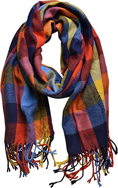 Womens Winter Scarf Wool Print Shawl Indoor Outdoor Warm Bib