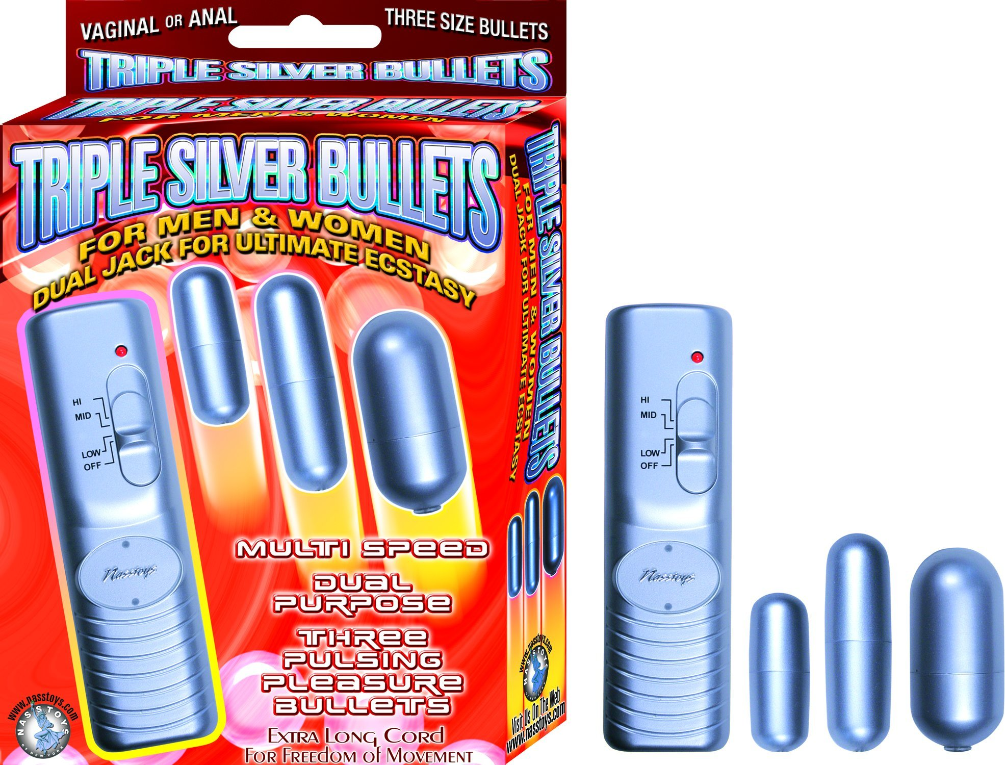 Nasstoys Multi-speed Vaginal or Anal Pulsing Pleasure Bullets, Various-sized, Silver