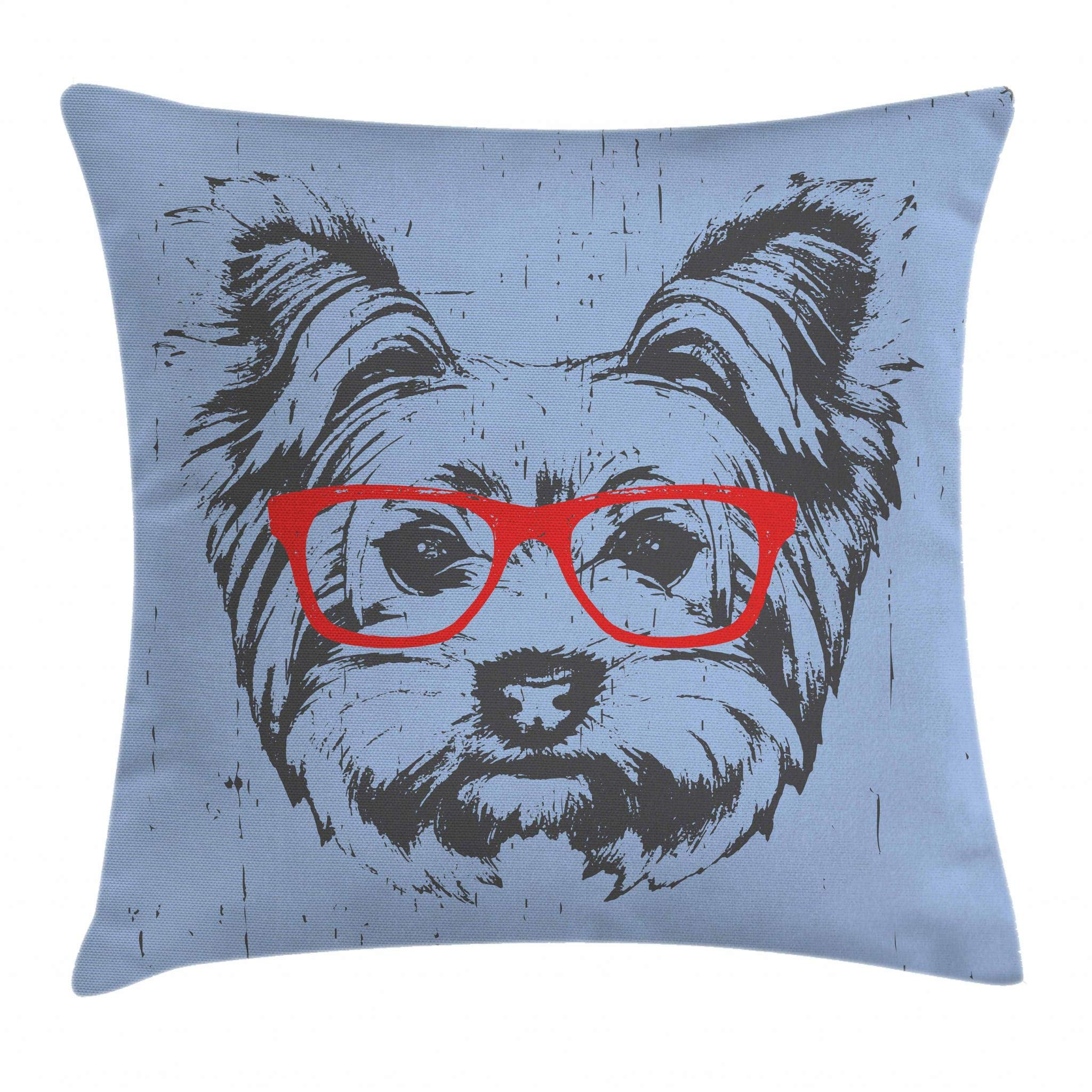 Ambesonne Yorkie Throw Pillow Cushion Cover, Yorkshire Terrier Portrait Red Nerd Glasses Tainted Backdrop Animal, Decorative Square Accent Pillow Case, 16 X 16 Inches, Pale Blue Grey Vermilion