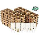 Peat Pot Seedling Starter Trays | Seed Germination Kit - Organic Biodegradable Pots 100% Eco-Friendly Enhance Aeration | BONUS 10 Plastic Plant Markers - 100 Cell Pack
