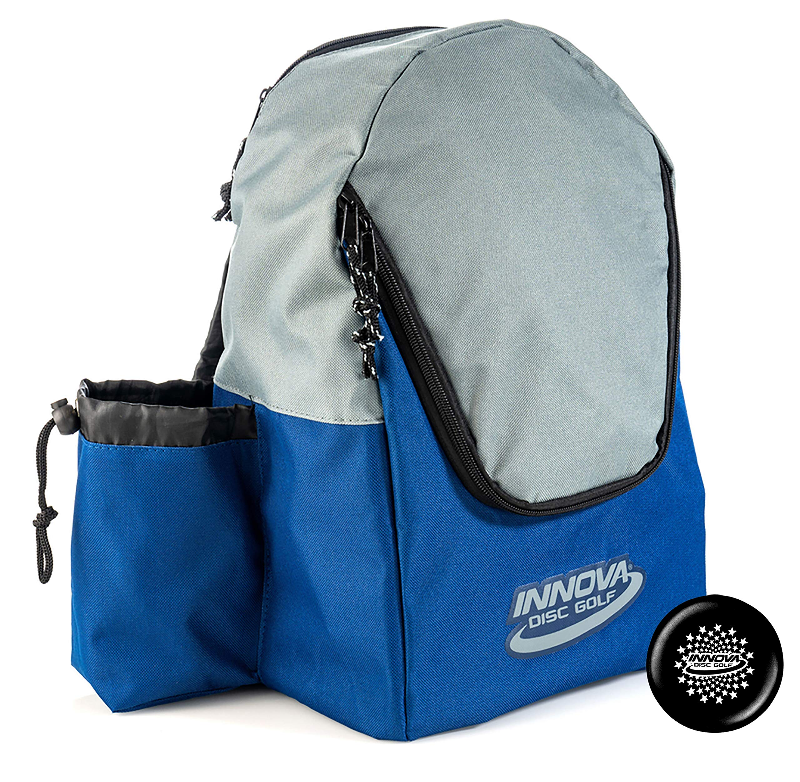Innova Discover Pack Backpack Disc Golf Bag - Holds 15 Discs - Lightweight and Easy to Carry - Includes Innova Limited Edition Stars Mini Marker (Blue/Gray) by Innova Discs