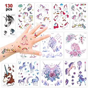 Konsait 130 Brillo Unicornio Tatuajes temporales, Falso Tatuajes temporales Pegatinas para niños Niñas Infantiles Fiesta de cumpleaños Regalo piñata