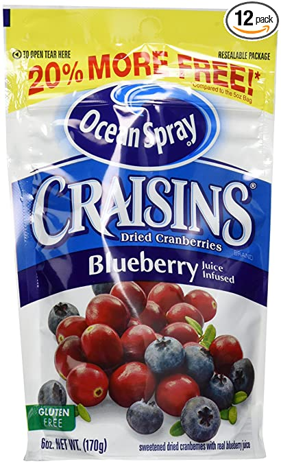Ocean Spray Craisins Dried Cranberries Juice, Blueberry, 6 Ounce (Pack of 12)