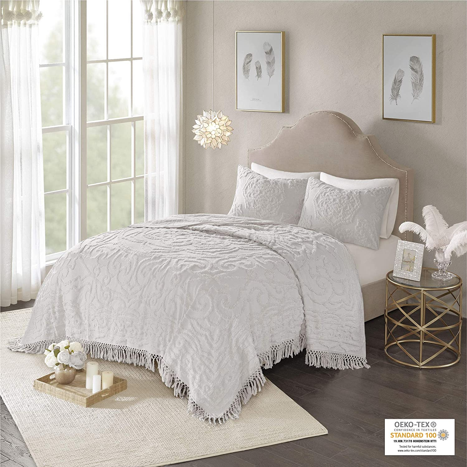 Madison Park Laetitia Chenille Tufted 100% Cotton Quilt Shabby Chic Cozy All Season Bedspread Bed Set