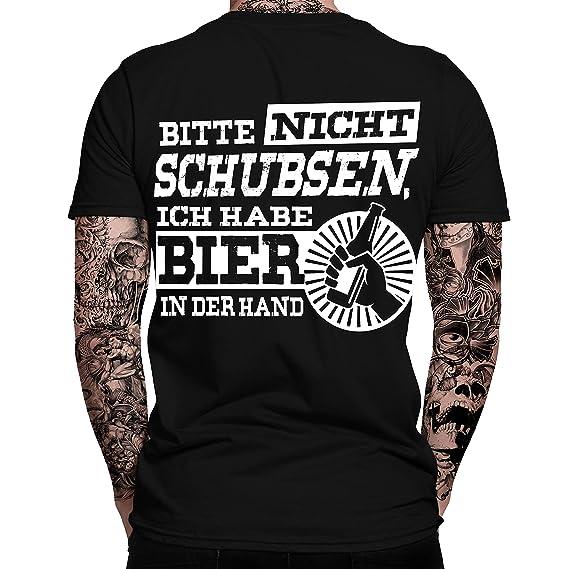 Bitte Nicht Schubsen Ich Habe Bier In Der Hand T Shirt Sprüche Lustig Fun Shirt Nerd Spaß Tshirt Festival Alkohol Statement
