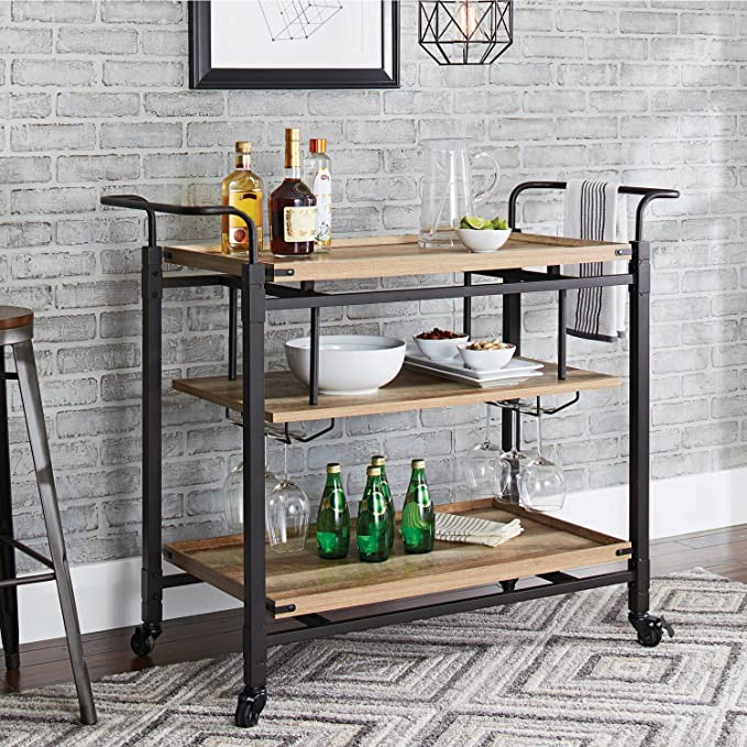 Amazon.com - Better Homes and Gardens Crossmill Bar Cart, Weathered Finish - Kitchen Islands & Carts