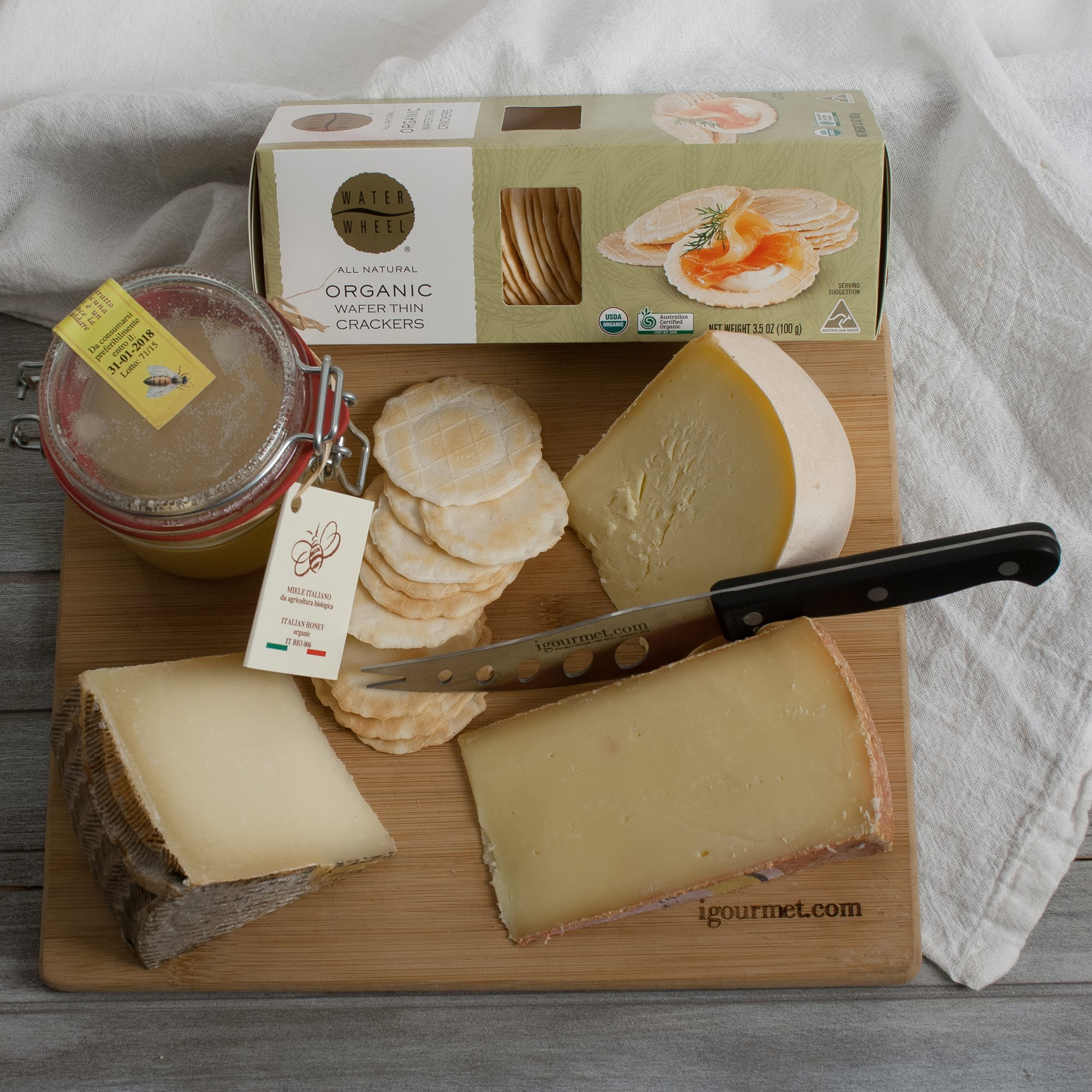 KaBloom Gift Basket Collection: The Organic Gourmet Cheese Set of Gourmet Cheeses, Cheese Board and Cheese Knife by KaBloom