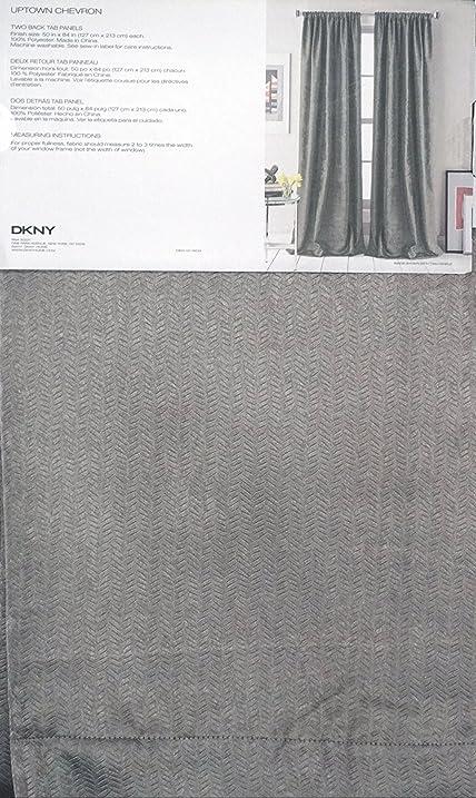 Textured Woven Chevron Pattern Solid Medium Gray DKNY Pair Of Window Back  Tab Panels Curtains Drapery
