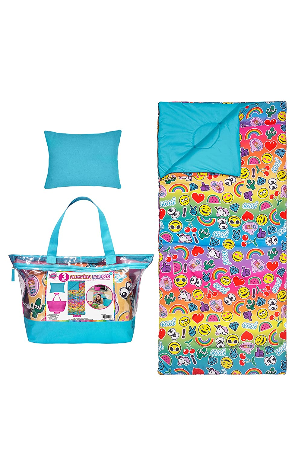 Amazon.com: 3C4G EmojiPatch 3 Piece Spectacular Sleeping Bag Set: Home & Kitchen