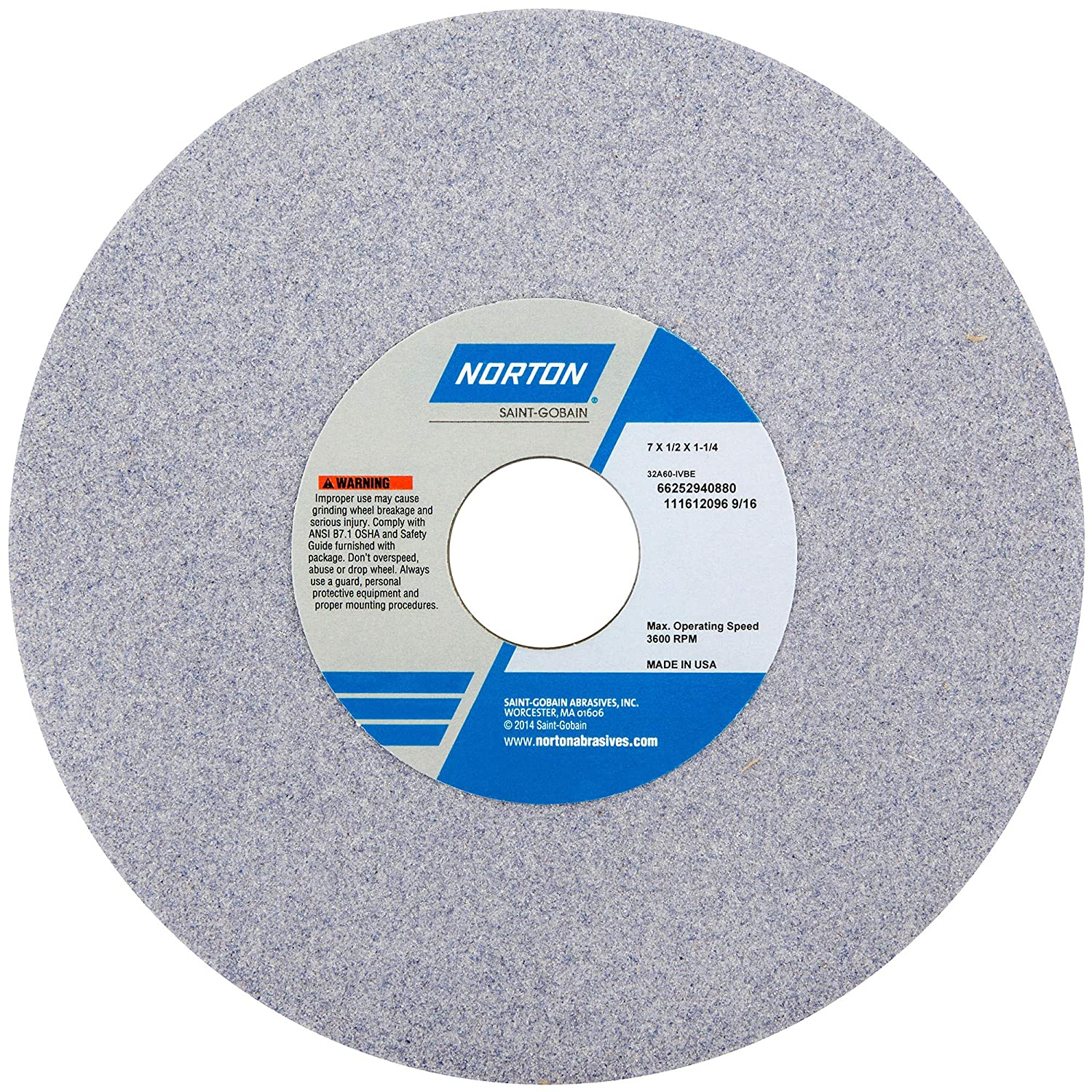 Norton 7 Dia 1//2 Thick 1-1//4 Hole Size 46 Grit 32A Aluminum Oxide J Hardness Type 1 Surface Grinding Wheel