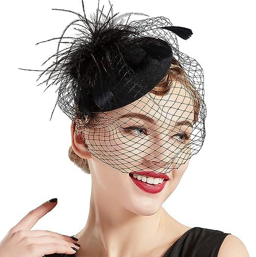 d87b04cf82d06 BABEYOND Women s Fascinators Hat Hair Clip Pillbox Hat Tea Party Fascinator  Hat with Veil Headband for