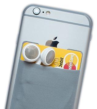 Atkolé Wallet - Funda-Cartera Adhesiva (con pegamento) para Celular con cinta adhesiva (Gris) de 3M. Un accesorio indispensable para celulares, un ...