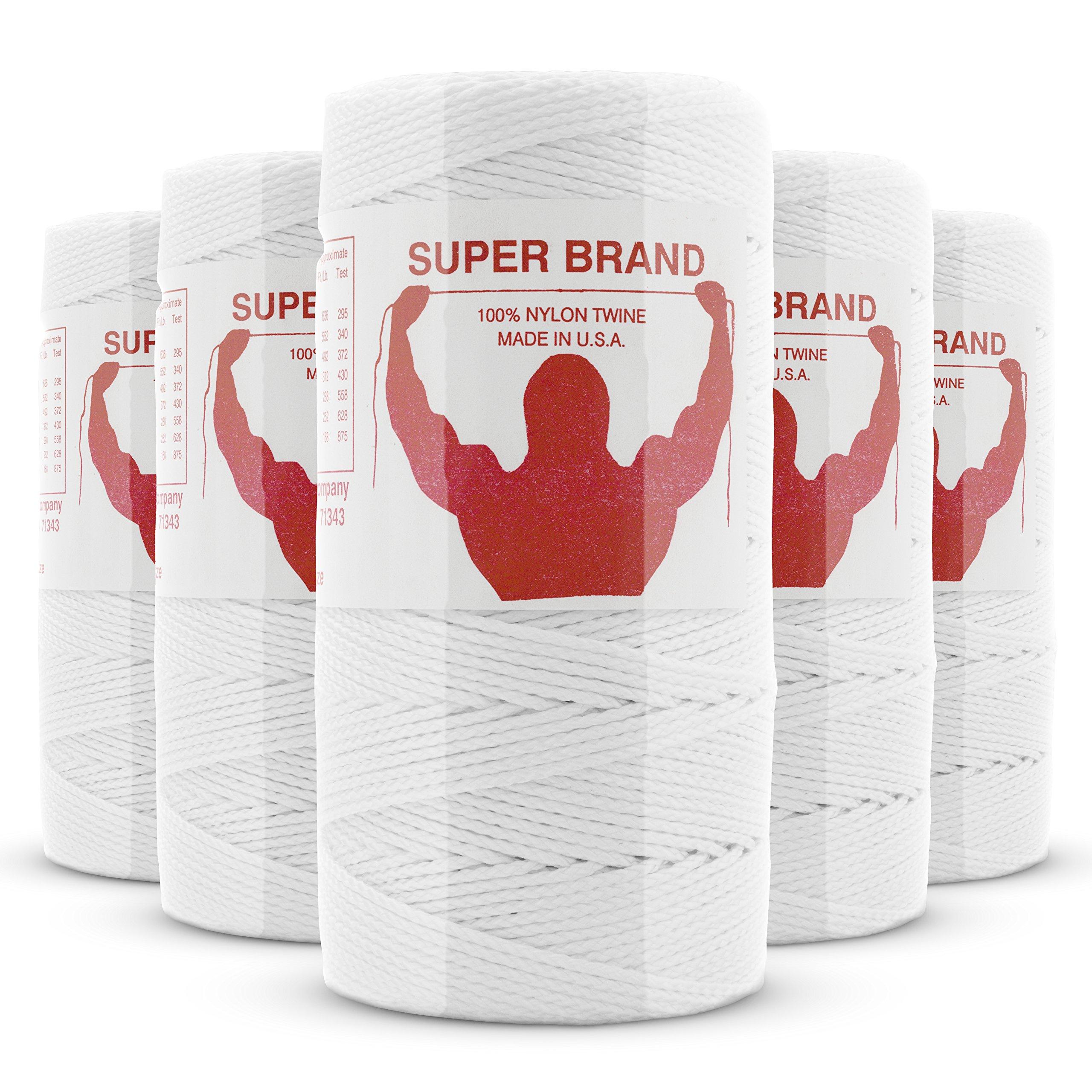 White Nylon Twine, Braided. Size #15, 1 lb 6-pack