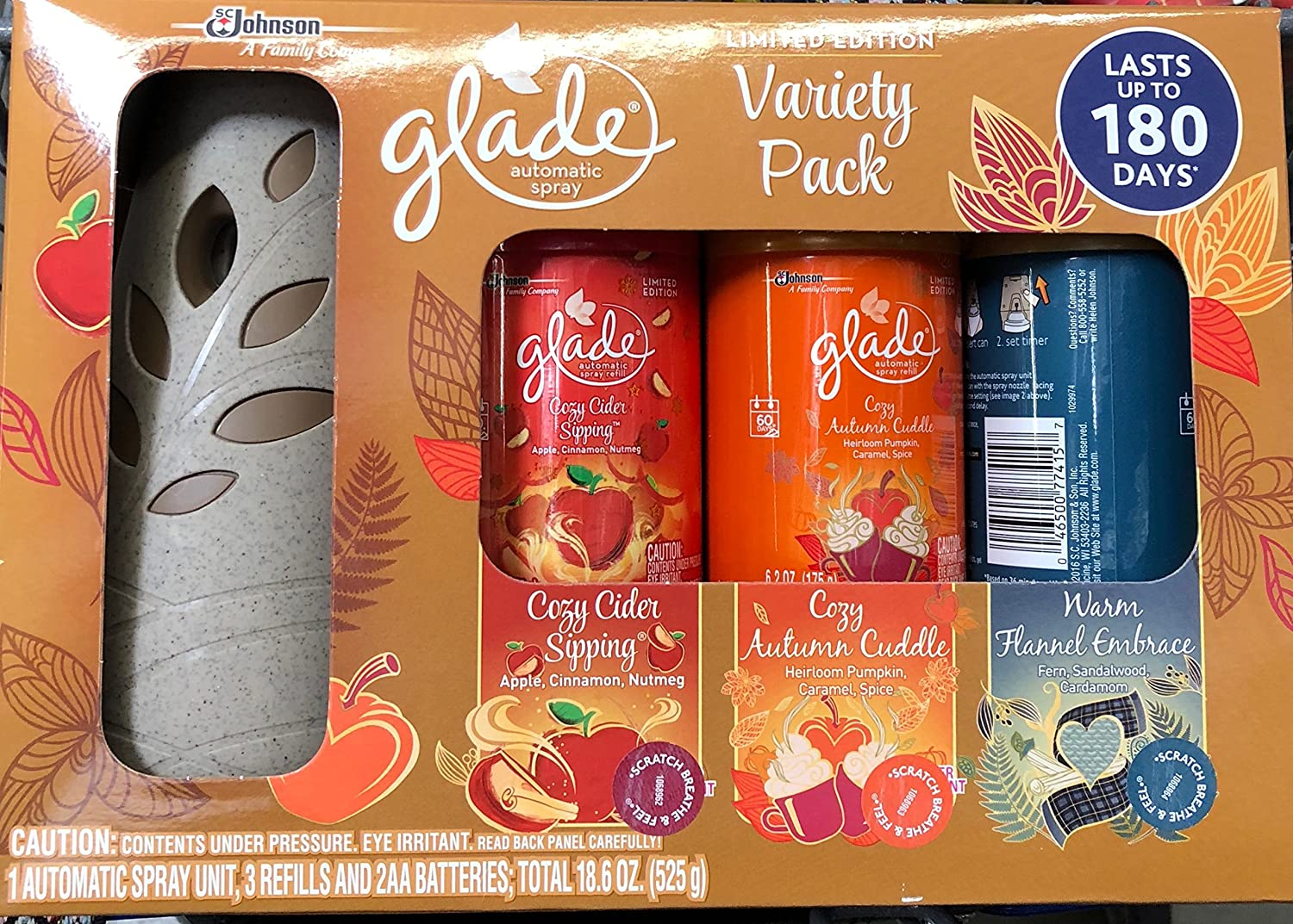 Glade Automatic Spray Starter + Variety Pack 3 Refills, Limited Edition