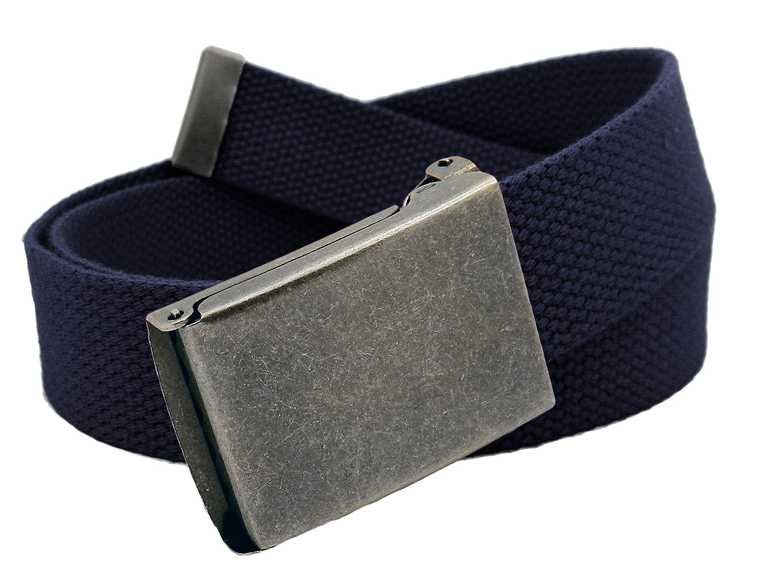 Boys School Uniform Distressed Silver Flip Top Military Belt Buckle with Canvas Web Belt Large Navy Blue