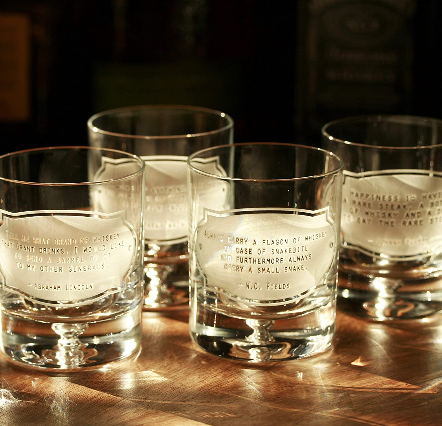 Christmas Gifts for Men, Whiskey Quotes Rocks Bourbon Glasses, Set of 4