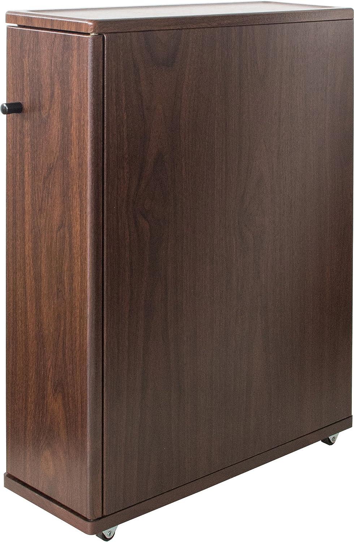 掃除道具は裏側に トイレラック スリム 【完成品】 (ブラウン) / トイレ収納棚 薄型 木製 キャスター付き トイレットペーパー B07DVSY23B ブラウン ブラウン