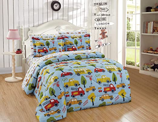 100/% Cotton Fabric CAR TRUCK DIGGER BUS TAXI ROAD BLUE Childrens Kids Material