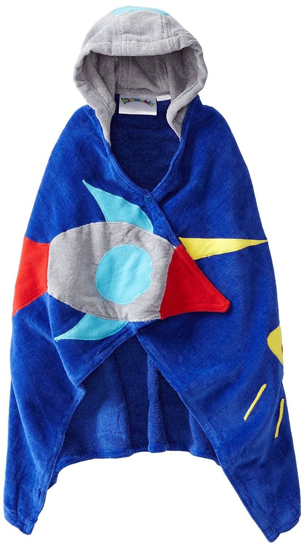 Kidorable Space Hero All-Cotton Hooded Blue Towel for Boys w/Fun Astronaut Helmet, Rocket 601605