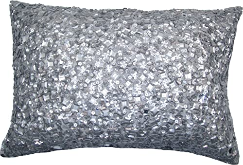 Design Accents KSS0057 SLVR1420 Hand Beaded Sequin Pillow, 14-Inch by 20-Inch, Silver