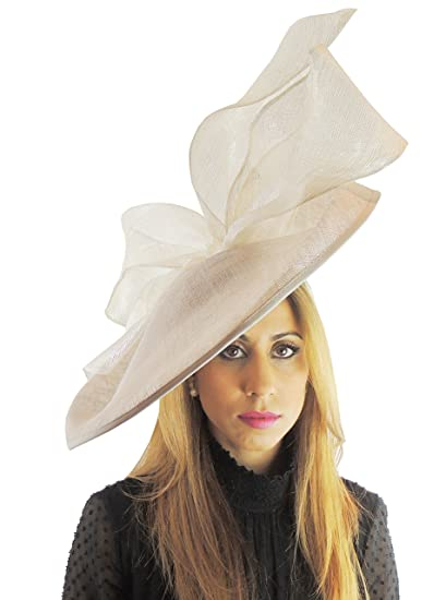 d3c93e6b Image Unavailable. Image not available for. Color: Pale Grey Large Sinamay  Fascinator Hat for Weddings ...