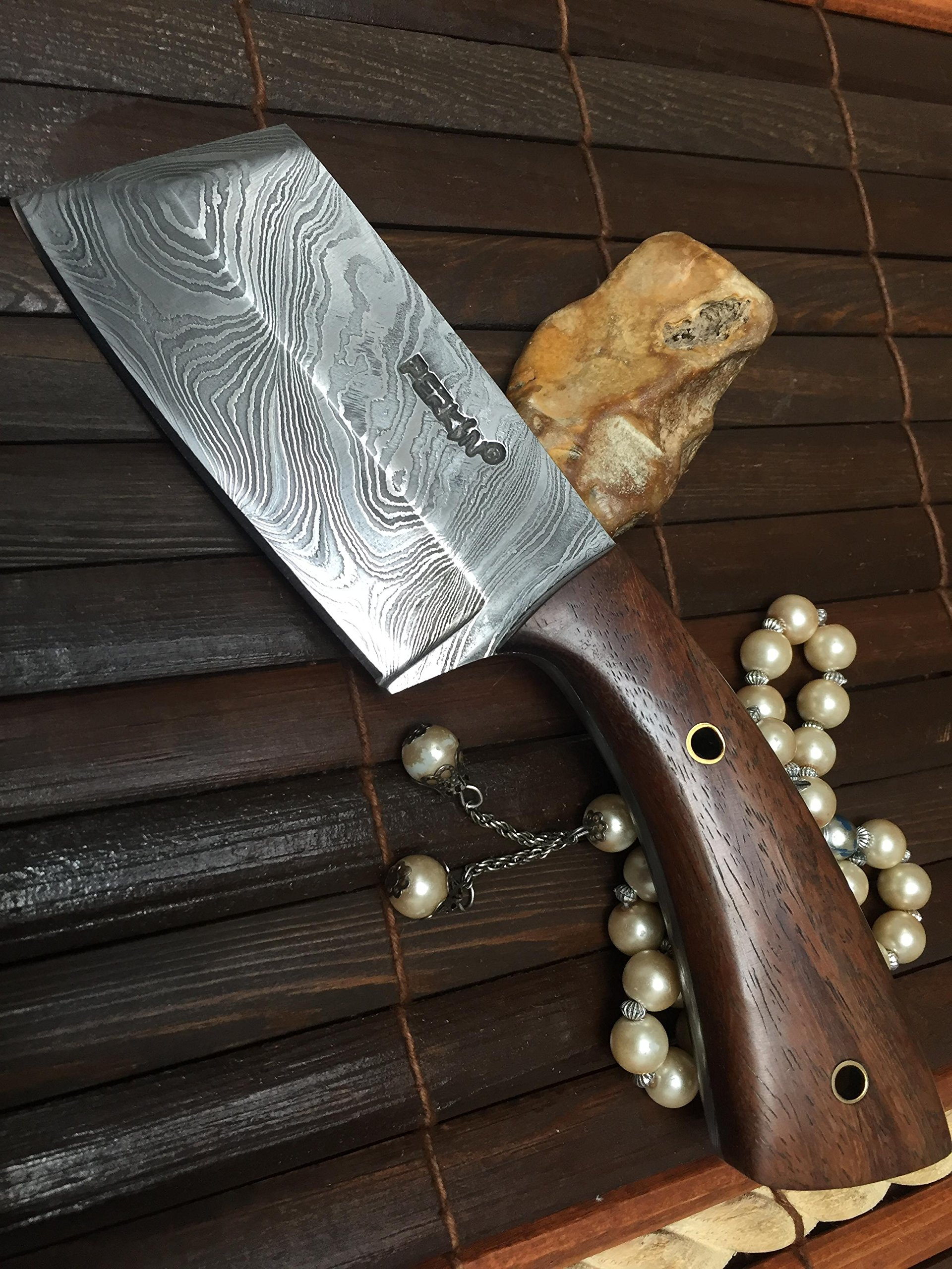 Damascus Steel Hunting Knife Damascus Chef Knife with Sheath by Perkin (Image #1)